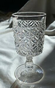 "EAPG ""Dice and Block"" clear goblet by Belmont Glass Works 1886."