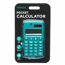 WHSmith Dual Powered Pocket Basic Calculator Teal 8 Digit Display Auto Shut Off
