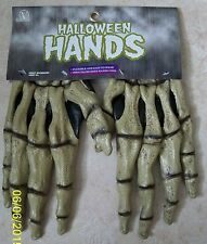 SKELETON BONES HANDS LATEX GLOVES COSTUME DRESS ACCESSORY MR156001