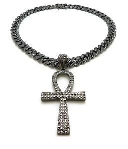 "Hip Hop Iced Black Ankh Cross Pendant 18"" 20"" Iced Box Lock Cuban Chain Necklace"