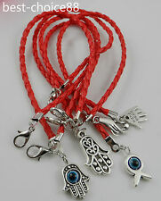 Free 5Pcs Mixed HAMSA HAND Evil Eye String Bracelets Lucky Charms Leather HOT