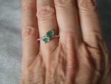 Zambian Emerald duo ring, 0.84 carats, size N/O, 1.96 grams of 10K Yellow Gold
