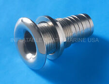 "Boat Thru Hull Fitting / Drain 1"" to 1-1/8"" Hose Barb Marine 316 Stainless Steel"