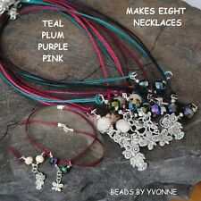 K / EIGHT WAX CORD CHARM NECKLACE KITS 10MM CRYSTAL BEADS JEWELLERY MAKING / 1