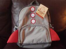 Pottery Barn Kids Mackenzie Rocket Small Backpack No Mono Gray Red