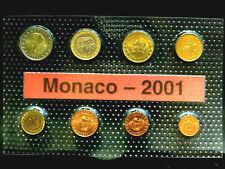 Monaco,  1 Cent > 2 Euro, 2001, Komplettsatz, Rainier III., Fe/Cu., orig., St.!