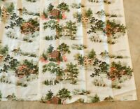 "Vtg MCM Drapes 2 Panels 24"" x 83"" Ea Pinch Pleats White Farmhouse Mill Trees"