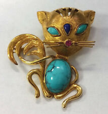 Estate Jewelry 14k Yellow Gold Cat Brooch Pin With Turquoise