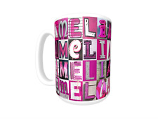AMELIA Coffee Mug / Cup featuring the name in photos of PINK sign letters
