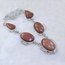 "Handmade Sun Sitara Goldstone Jasper 925 Sterling Silver Necklace 19"" #AA1020"