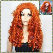 Merida Disney Princess Copper Orange Red Halloween Cosplay Curly Wig +wigs Cap