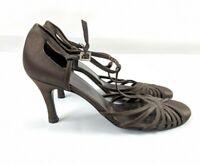 Women's L.k Bennett brown satin sling back sandals heels UK 4.5 EU 37.5