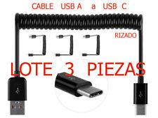 Cable USB  A   -   USB  C .  RIZADO  . LOTE  3 PIEZAS