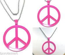 x1 Peace Sign Symbol Necklace Chain Black Pink Silver Tone Pendant