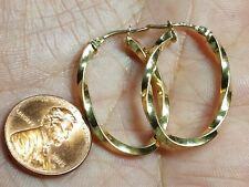 30mm 2g 2.5mm 14K SOLID Real GOLD Yellow earring HOOP twist swirl OVAL