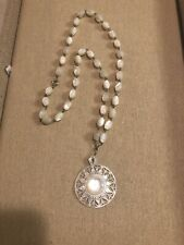Antique Victorian Mother Of Pearl Carved Pendant On MOP Hand Wired Link Chain