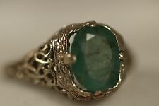 VINTAGE 10K SOLID WHITE GOLD 2.50CT EMERALD ART DECO FILIGREE RING SZ 6.75 3.03G