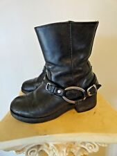 6c8f0a6d1623dc Harley Davidson Black Leather Side Zip Christa Harness Boots Size 6 Style  85298