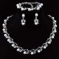Crystal Pearl Flower Tassel Earring Bracelet Necklace Set Bride Wedding Jewelry