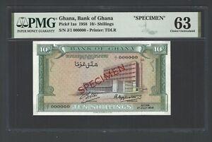 Ghana 10/- Shillings 01-07-1958 P1as Specimen Uncirculated Grade 63