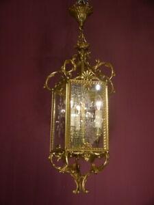 "HANGING LANTERN BRASS 3 LIGHT CHANDELIER LAMP FOYER BRASS USED Ø 12"" OLD"