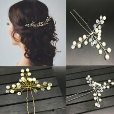 Wedding Hairpin Handmade Crystal Pearl Bride Bridesmaid Hair Clip Pin Headdress