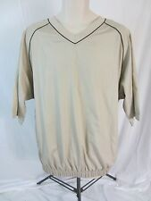 Footjoy Short Sleeve Pull Over Windbreaker Jacket - Beige w/Logo - Men's L