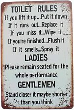 Toilet Rules Bathroom Funny Humorous Men Ladies Metal Sign 8 x 12