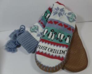 Original Muk Luks Fair Isle Just Chillin PENGUIN Tassel Slipper Socks L/XL 8-10