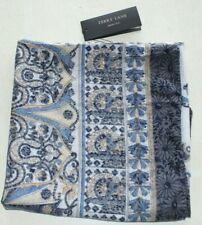 Echarpe carrée ton bleu 100% coton 107x107 cm marque TERRY LANE (sg)