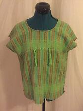 True Vintage 1970's Hippie Boho Green Striped Pullover Poncho Sweater Vest Small