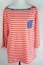 Anne Klein Sport Womens Top Striped Boat Neck Size Large