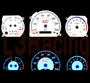 05-09 Scion tC Manual Trans Reverse BLUE El Glow WHITE Face Gauges Kit