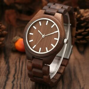 Antique Walnut Wood Men's Wooden Quartz Wrist Watch Brown Bamboo Bracelet Gift