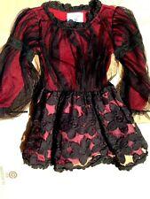 Vampiress, Girl Vampire, Blood red & black lace, Goth fancy Dress: 5-6 yr. old
