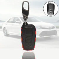 3 Button Leather Car Key Fob Cover Case for Toyota Camry Corolla RAV4 Avalon CHR