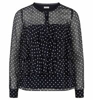HOBBS Lily Spot Navy Ivory Blouse. Various Sizes. RRP £110. BNWT.