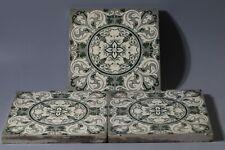 3x vintage Tile Rose & Ring Pattern 1950s transfer print