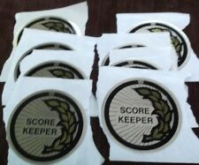 "lot of 8 trophy parts score keeper gold mylar 2"" diameter by Pdu"