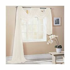 TAILORED PLAIN COLOURS SOFT FOLD LUXURY VOILE NET WINDOW SCARF PELMET DRAPE