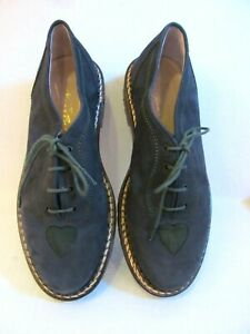 HANS BEHR Queen of Hearts Vintage Euro 39 Navy suede Oxford tie shoes