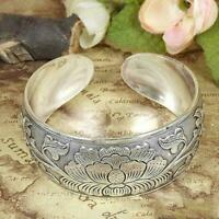 2020 Tibetan Tibet Silver Peony Totem Carved Bangle Jewelry Bracelet Cuff C7O5