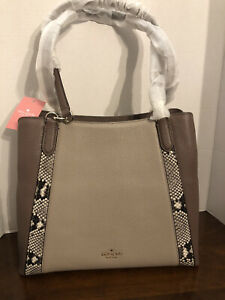 Kate Spade jackson mixed material med. triple compartment bag NWT $409 snake