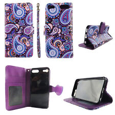 Flip Wallet Case Purplish Vintag for ipod touch 5 6 Gen Cash id Slot Stand Cover