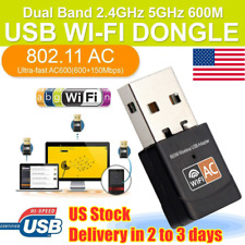 600Mbps WiFi Adapter Dongle USB Network Card Ethernet Receiver 2.4G/5G US