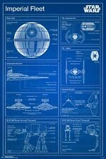 STAR WARS IMPERIAL FLEET BLUEPRINT DIAGRAM POSTER FORCE AWAKENS 22x34