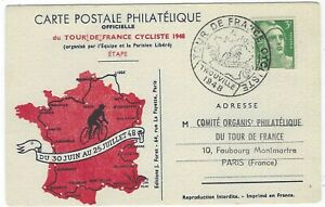 France 1948 set of 21 cards for Tour de France used with stage cancels