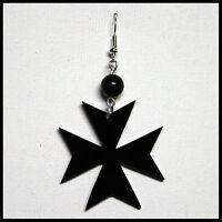 Orecchino Donna Con Croce Pendente Di Malta Ciondolo In Plexiglass Nero Da 4 cm
