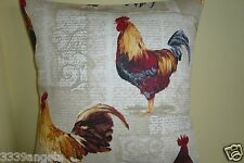 "16"" NEW CUSHION COVER FUNKY STOF FRENCH CHICKEN HEN BIRD SHABBY RETRO CHIC"