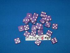 NEW 18 PURPLE DICE w/ WHITE PIPS 16MM OPAQUE BUNCO CRAPS YAHTZEE FREE SHIPPING